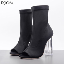 Womens Heels Spring High heels Sandals Black Party Shoes Fashion Transparent Clear Chunky Heels Sexy Women Elastic Ankle Boots(China)