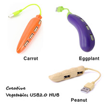 cute carrot/eggplant /peanut 4 Ports USB 2.0 Hub Splitter Adapter for Laptop Mice Keyboard Hard disk driver fashion gift(China)