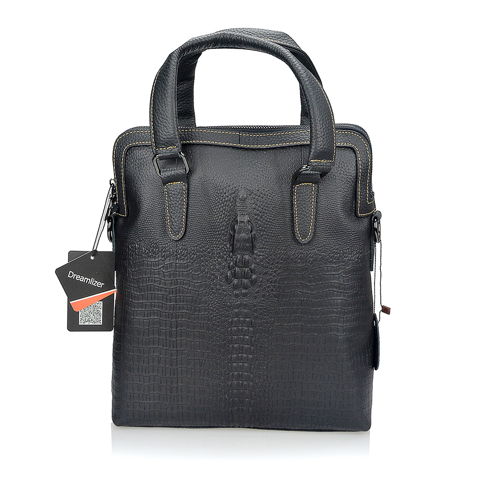 Large Crocodile Head Genuine Leather Handbags for Men With Strap Male Messenger Bag Fashion Business Briefcase Should Bags<br>