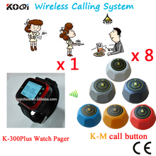 Wireless Watch Pager System Super Quality Chinese Electric Restaurant Service Equipment(1 watch+8 table call button)
