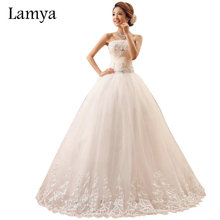 Lamya Fashion Lace Edge Vintage Wedding Dress Summer Bow Plus Size Tulle Bridal Ball Gown In Stock