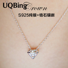 Hot Sale 925 Sterling Silver Crown Crystal Pendant Necklaces Sterling Silver 925 Necklace Jewelry Collar Colar de Plata(China)