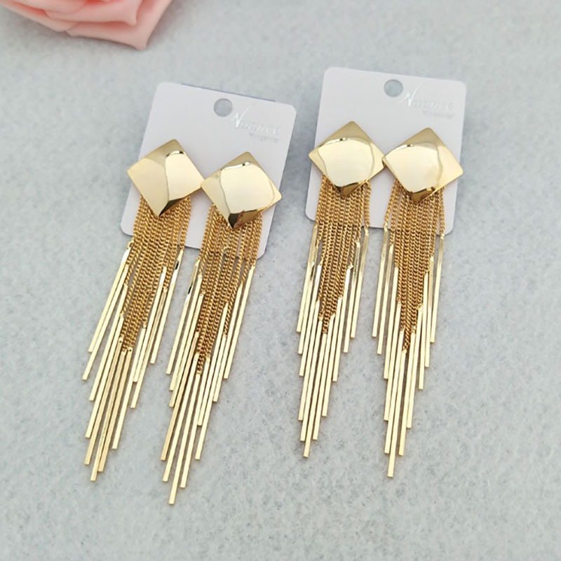 5 Pairs Handmade gold color Alloy Tassel dandle Earrings Jewelry For Women Bohemia Earrings ER511