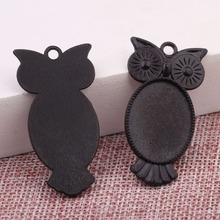 onwear 20pcs 18x25mm cabochon base setting black metal owl shape blank pendant trays diy jewelry bezel findings