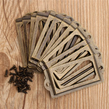 12Pcs Antique Brass Metal Label Pull Frame Handle File Name Card Holder For Furniture Cabinet Drawer Box Case Bin