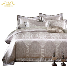 ROMORUS 4/6 pcs Silver Grey Luxury Duvet Cover Set 100% Cotton High Quality Satin Jacquard King Queen Size Wedding Bedding Sets