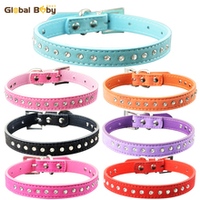 7 Colors 4 Sizes Protective Soft Suede One Row Diamond Dog Pet Cat Puppy Small Collar(China)
