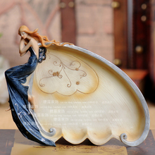 Europe Type Resin Home Decoration Angel Fruit Bowl Snack Plate Furnishing Articles Wedding Gift Tea Table Decoration(China)