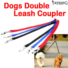 New Two Way Double Leash pet Coupler Walk 2 Dogs 1 Lead nylon swivel snap 3 colors dog double leash coupler