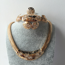2017 Italy Fashion Costume Jewellery African Women Big Necklace Bracelet Rings Earrings Set Dubai Gold-colour Jewelry Sets