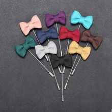 1pc Fashion Bowknot Men's Brooches Fabric Bow Lapel Pin For Suits Handmade Brooches Men Brooch Costume Wedding Party Jewelry(China)