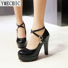 YMECHIC Women Office Party Wedding White Red Black Platforms High Heels Shoes Gladiator Summer Cross Tied Plus Size Lady Pumps(China)