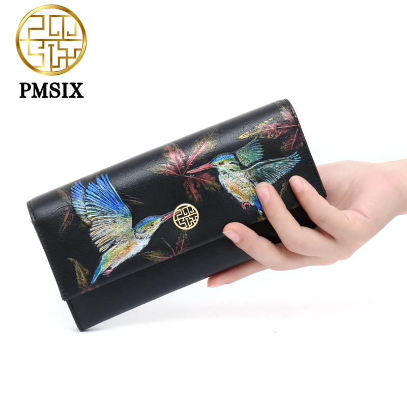 PMSIX 2017 Autumn New Embossed Birds Genuine Leather Women Long Wallet 3 Layers Fashion Black Clutch Wallet 410025<br>