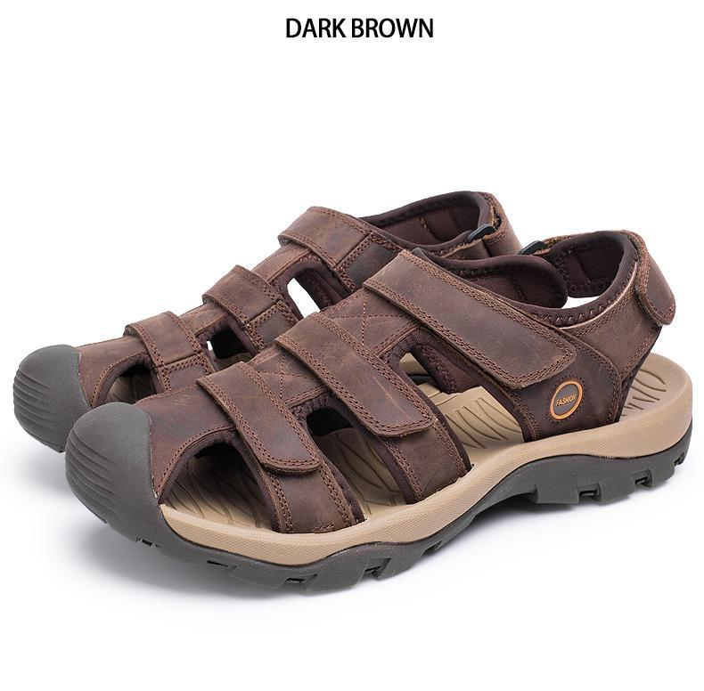 Summer Man Sandals Beach Shoes 2018 High Quality Genuine Leather Prevent Slippery Wear-resisting Outdoor Sandals Large Size 46 9 Online shopping Bangladesh