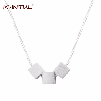 1Pcs Drop Shipping 925 Sterling Silver Square Necklaces Three Box Cube Necklace Pendant Jewelry Collar Colar  for Women Party