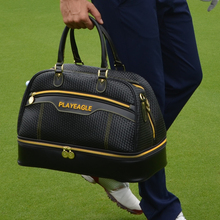 PLAYEAGLE Golf Boston Bag Weave PU Leather Black Color Golf Clothing Bag with Separate Golf Shoes Bag