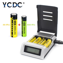 YCDC 1.2V 4 slots AA / AAA Rechargeable Batteries + NIMH nicd quick LCD display charge battery charger with EU AU US UK plug