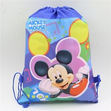 Boy Favor Blue Color Mickey Mouse Drawstring bags Baby Shower Party Birthday backpack for Child Cartoon Gift supplies decor