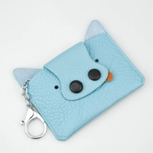 Fashion Card Case for Girls Genuine Leather Small Purse Key Holder Children's Pocket Wallets Id Card Bags Animals Pig Wallet