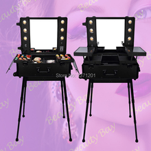 Free shipping to United States/Canada/Mexico, classic black aluminium makeup case with lights bulbs, trolley makeup station(China)
