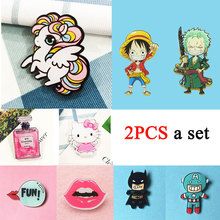 ZOEBER 2PCS animal Brooch Broche Arrival Cute Harajuku Badge Acrylic Brooches Pins Anime Cartoon Figure Simpson Batman female