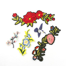 Embroidery Patches For Clothing 1Pcs Mulity Red Flowers  Iron On Patches Punk Motif Applique DIY Accessory Clothes Stickers