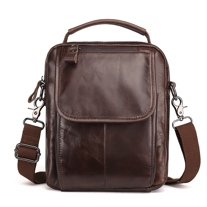 New Arrived Genuine Leather Mens Shoulder Messenger Bags Vintage Oil Wax Leather Business Top-Handle Bags Small Flap LS8894<br>