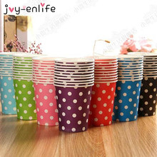 JOY-ENLIFE 10pcs 250ml Colorful Disposable Striped/Polka Dot/Wavy Paper Cups Party Tableware Wedding Party Birthday Supplies