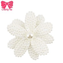 "3pcs 3"" White Full Pearl Flower Hair Bow With Clip For Women Boutique Pearl Hairpin Baby Hair Clip Kids Hair Accessories()"