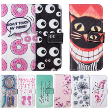 Doughnut Leaf Bird Flower Painted Leather Phone Cases sFor LG Leon C40 4G LTE H340N H340 H324 Phone Bags Wallet Coque Flip Cover(China)