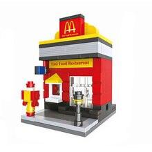 194pcs Mini Street View Building Blocks DIY Doll House Models Building Bricks Toys Learning Education Kids Toys(China)
