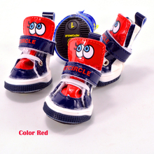Cheap Big Eyes Small Dog Winter Shoes Yellow Red Sporty PU Pets Boots Footwear Goods For Puppies Small Animals Cat Breeds Poodle(China)