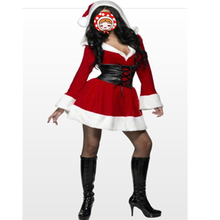Sexy Adult Women Christmas Costume,Sweetheart Miss Santa Dress One Size hooded red fancy dress