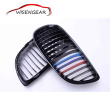 WISENGEAR Gloss Black M Color Front Bumper Grill Hood Grille Cover For BMW E92 Coupe E93 Convertible Pre Facelift 3 Series M3(China)