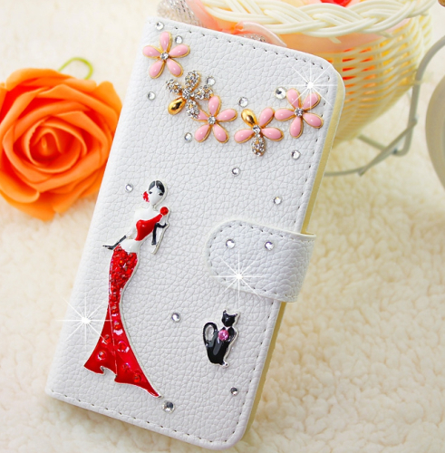 Elegent Red Dress Girl White Embossed PU Leather font b Case b font Cover for iPhone