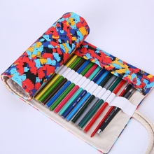 36/48/72 Holes Pencil Bag Canvas Colorful Painting Stationery Pencil Case Sketch Pencil Brush Bag Kits Rolling Up Holders Bag