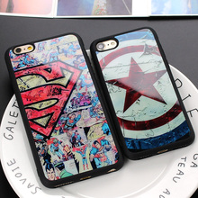 Brand Superman Super man Captain America Shield Luxury Soft Silicon Phone Case Cover For iPhone X 8 7 6 6s Plus 5 5S SE Coque