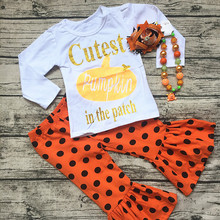 2017 new baby girls outfits halloween baby kids boutique baby girl kid halloween outfits pumpkin sets with matching necklace bow(China)