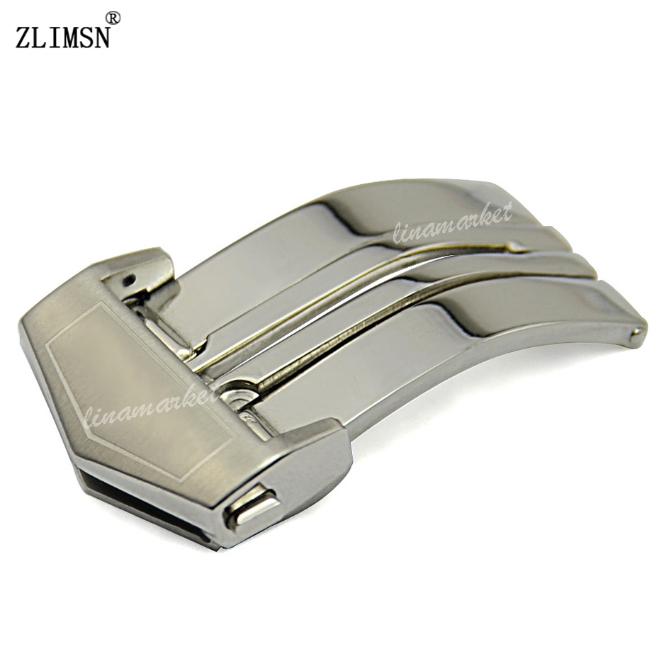ZLIMSN 22mm Mens SS Silver Polished Or Brushed Metal Watch Band Belt Buckle Clasp Relojes Hombre 2017 KG04<br><br>Aliexpress