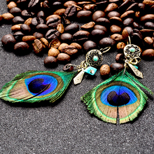 Ethnic natural peacock feather pendant earring earings Vintage boho wood beads metal leaf flower earrings for women jewelry gift(China)
