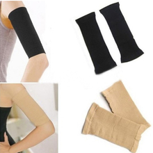 2016 Hot Charming Slim Arm Shaper Women Fat Burning Thin Arm Elastic Sleeve Armband Arm Warmers Black Beige Legs Dual Use