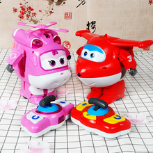 2 Styles Super Wings Remote Control Action Figure toys Models ABS 14cm Deformation Airplane Robot toys for kids Free Shipping