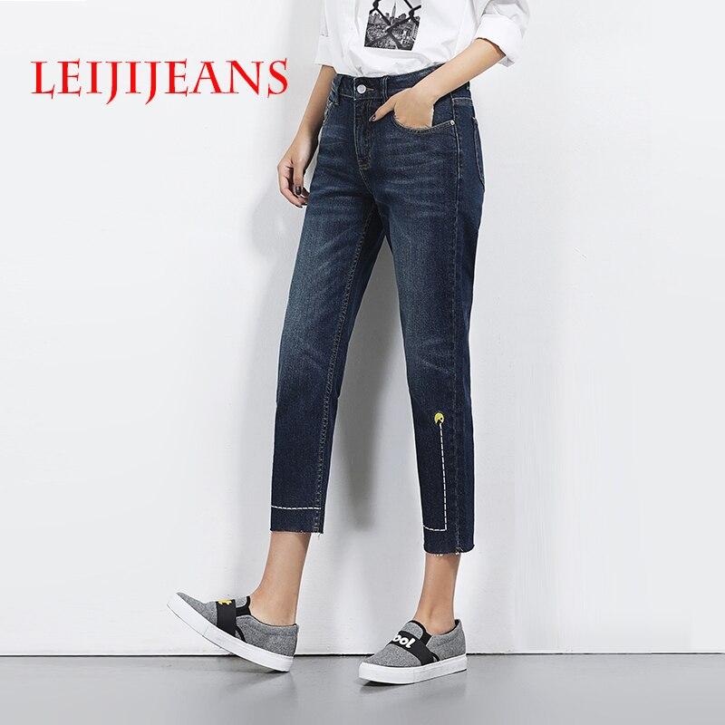 Leiji jeans with high waist ankle-length straight boyfriend pants for womens jeans large size 2017 summer women street fashion Îäåæäà è àêñåññóàðû<br><br>