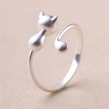 Silver Plated Cat Rings For Women Jewelry Beautiful Finger Adjustable Open Rings For Party Birthday Gift