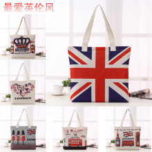 2016 New British National Flag London Bus Big Ben Pattern Cotton Bag Women Shopping Bag Large Capacity(China)