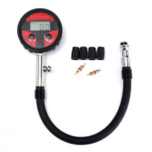 360 Degree Rotatable Auto Motorcycle Truck Tire LCD Digital Pressure Gauge 230mm Tube