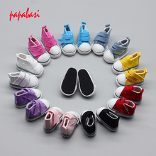New Assorted Colors 5Pair/Lot Canvas Shoes For BJD Doll,Fashion Mini Toy Shoes 1/6 Bjd Shoes for Doll Accessories(China)