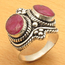 Silver Plated Authentic Rubys 2 Stone OXIDIZED Ring Size US 8 WHOLESALE PRICE