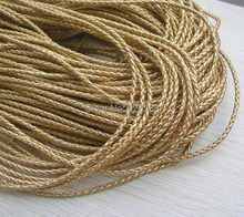 Free shipping 20m gold braid PU leather Beading Cord 3mm dia. Beading Wire Handcraft Accessory for bracelet & necklace