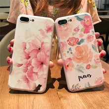 Lovebay Watercolor Painting Phone Case For iPhone 7 7 Plus Beautiful Peach Blossom Flower Cover For iPhone 7 7 Plus Cover Bags